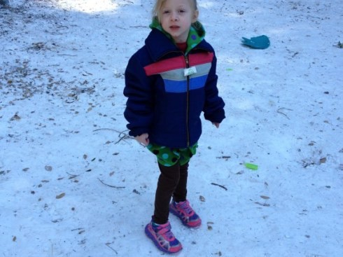 Girl playing in the snow at Mnt. Baldy