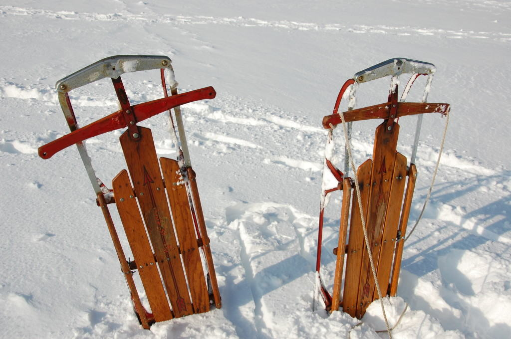 Two sleds in the snow in Running Springs California
