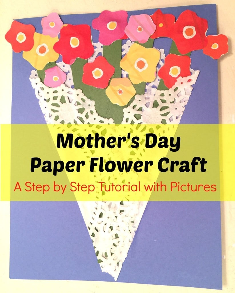 Make this very easy Mother's Day Paper Flower Craft! All you need is a dolly, craft paper, white glue, scissors and ribbon.