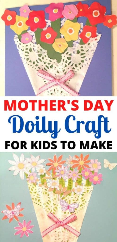 Make this very easy Mother's Day Paper Flower Craft! All you need is a doily, craft paper, glue, scissors and ribbon. In under 30 minutes you will have a homemade Mother's Day Card to give to any special mother, grandmother or aunt in your life!