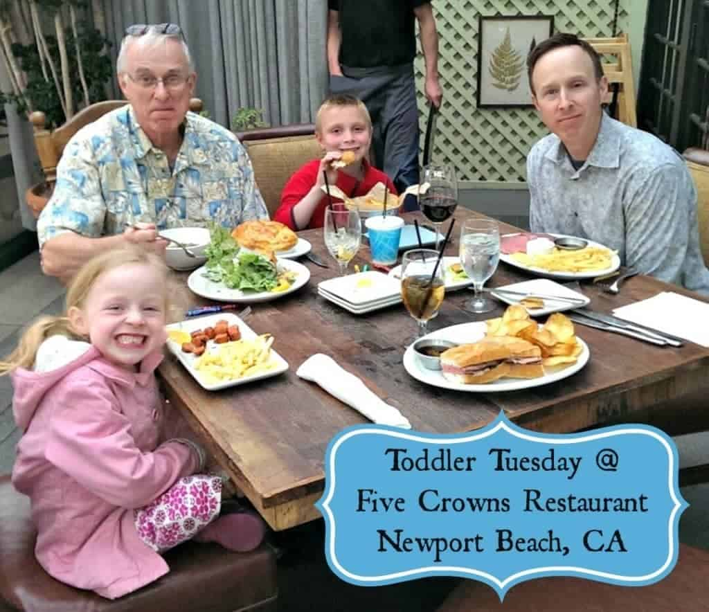 Enjoy $5 Kid's Meals on Toddler Tuesday at Five Crowns Restaurant in Newport Beach!