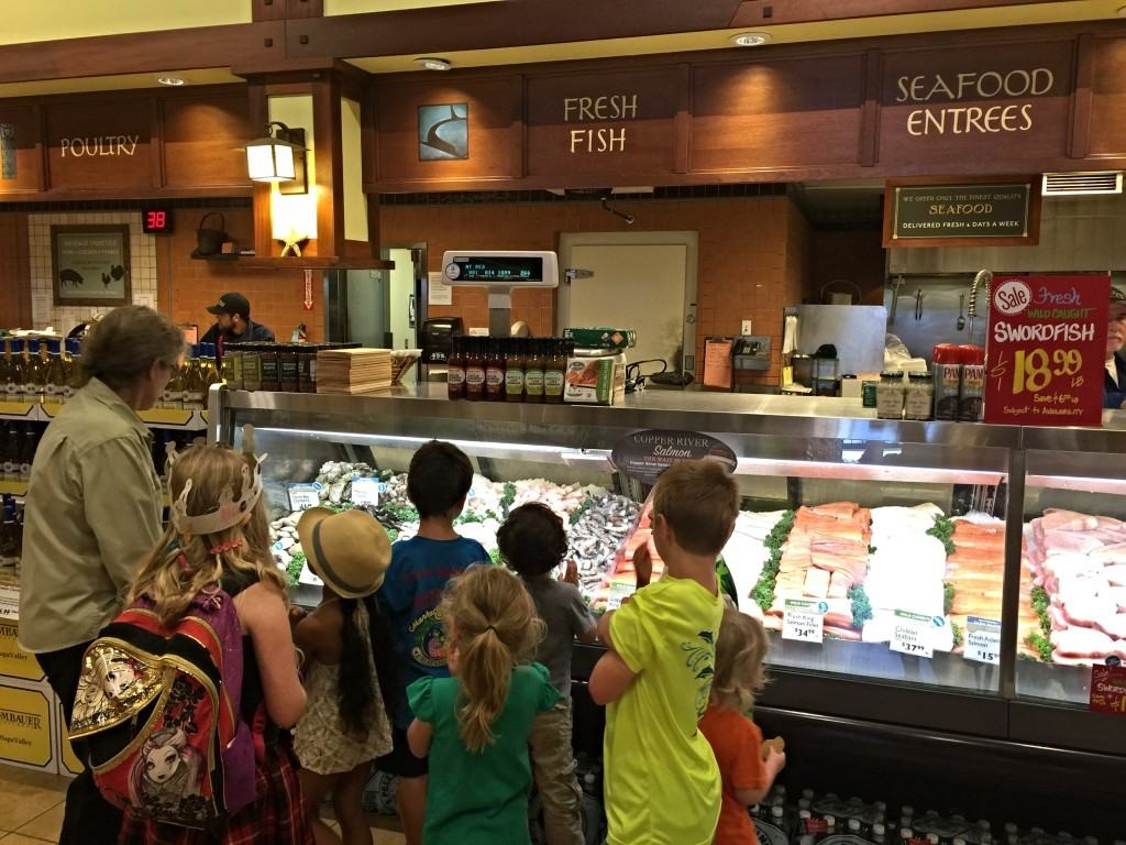 After filling up on pizza and cookies, Suzanne introduced us to one of the butchers in the meat and seafood department.  It was interesting to learn that Bristol Farms only serves fresh meat in their stores.  There is no frozen meat anywhere.