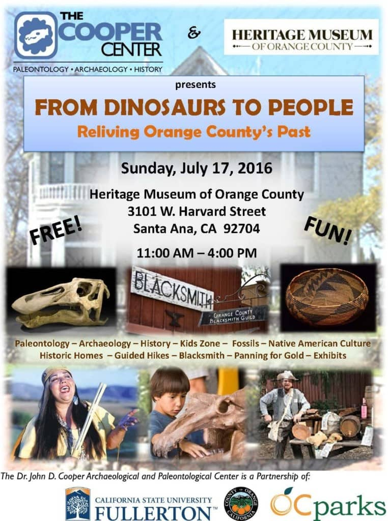 Calling all Dinosaur buffs and future archaeologists! One of this year's leading free educational events, From Dinosaurs to People, is taking place on Sunday, July 17 from 11:00 am to 4:00 pm at the Heritage Museum of Orange County!