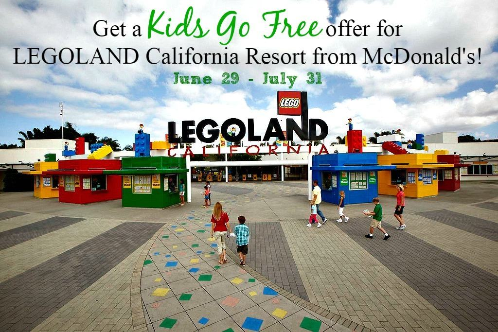 Get one Kids Go Free offer with any purchase at a participating McDonald's restaurant between June 29 and July 31! Each Kids Go Free with a paid adult ticket offer is good to use at LEGOLAND® California Resort AND your choice of LEGOLAND Water Park or SEA LIFE® Aquarium ($104 value)!