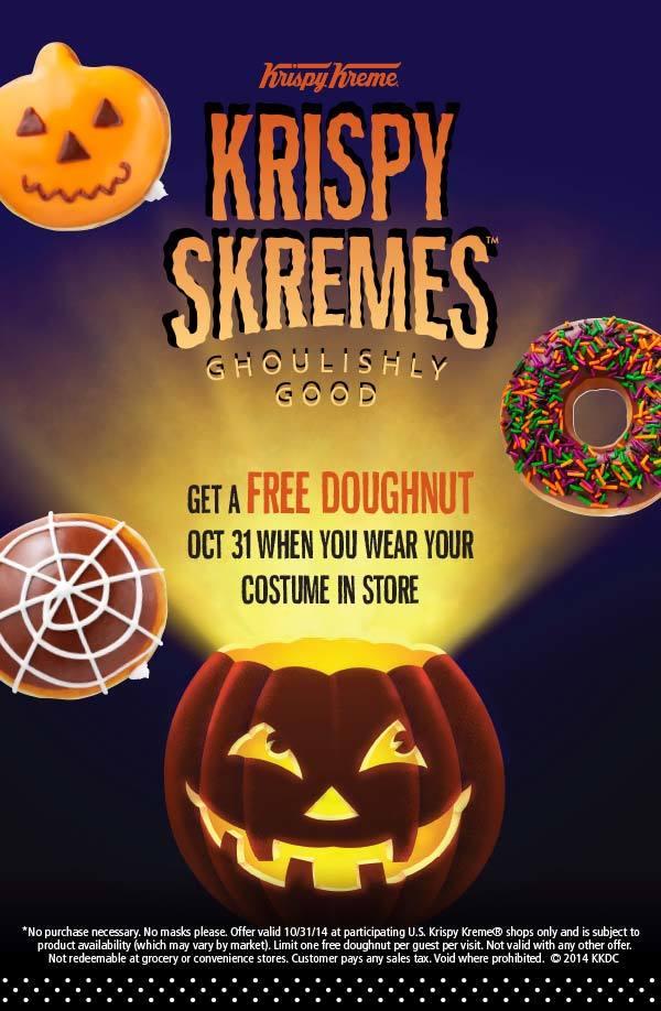 Free Donut on Halloween at Krispy Kreme