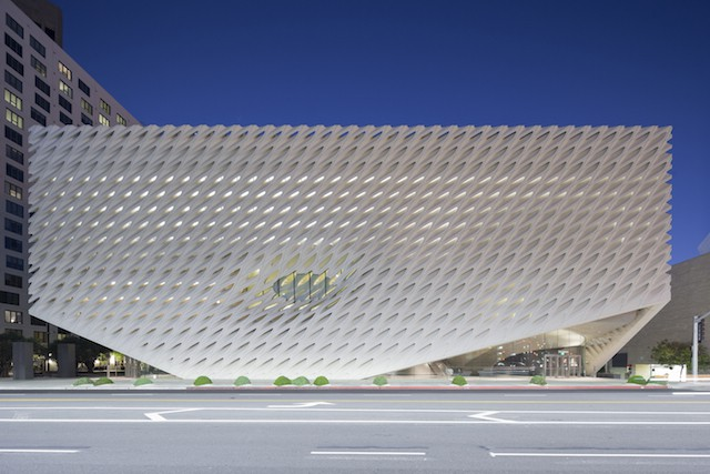 """With its innovative """"veil-and-vault"""" concept, the 120,000-square-foot, $140-million building features two floors of gallery space to showcase The Broad's comprehensive collection and is the headquarters of The Broad Art Foundation's worldwide lending library."""