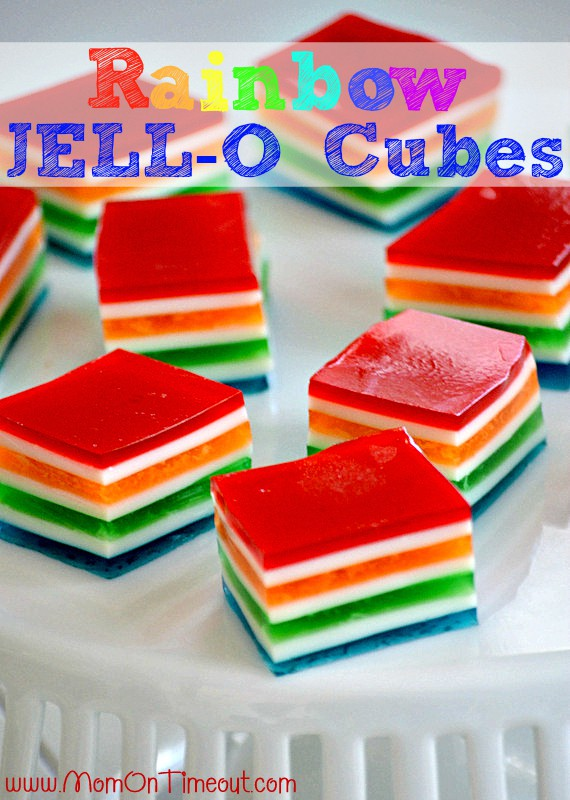 Make these cute Rainbow Colored Jello-Cubes for St. Patrick's Day