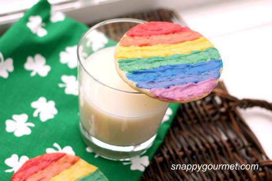 Make these Rainbow Painted Sugar Cookies for St. Patrick's Day