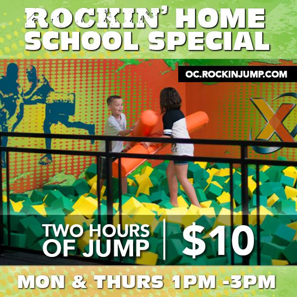 Rockin' Jump Orange County is excited to offer a special jump time dedicated to families that home school in the area. Every Tuesday and Thursday from 11 am – 1 pm they open their park for home school families, with each jumper being $10 for the entire 2 hour duration.