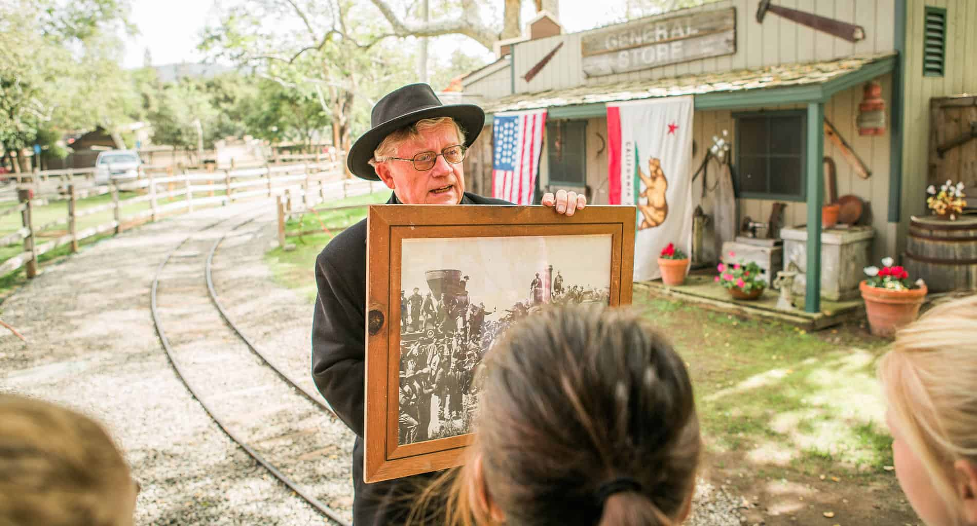 Are you looking for a fun and interactive California history field trip for kids? Then check out the California History Education Program at the Irvine Park Railroad in Orange, California. Each year the Irvine Park Railroad invites hundreds of homeschoolers and school groups from across Southern California to come and learn about California's gold rush period and early state history.