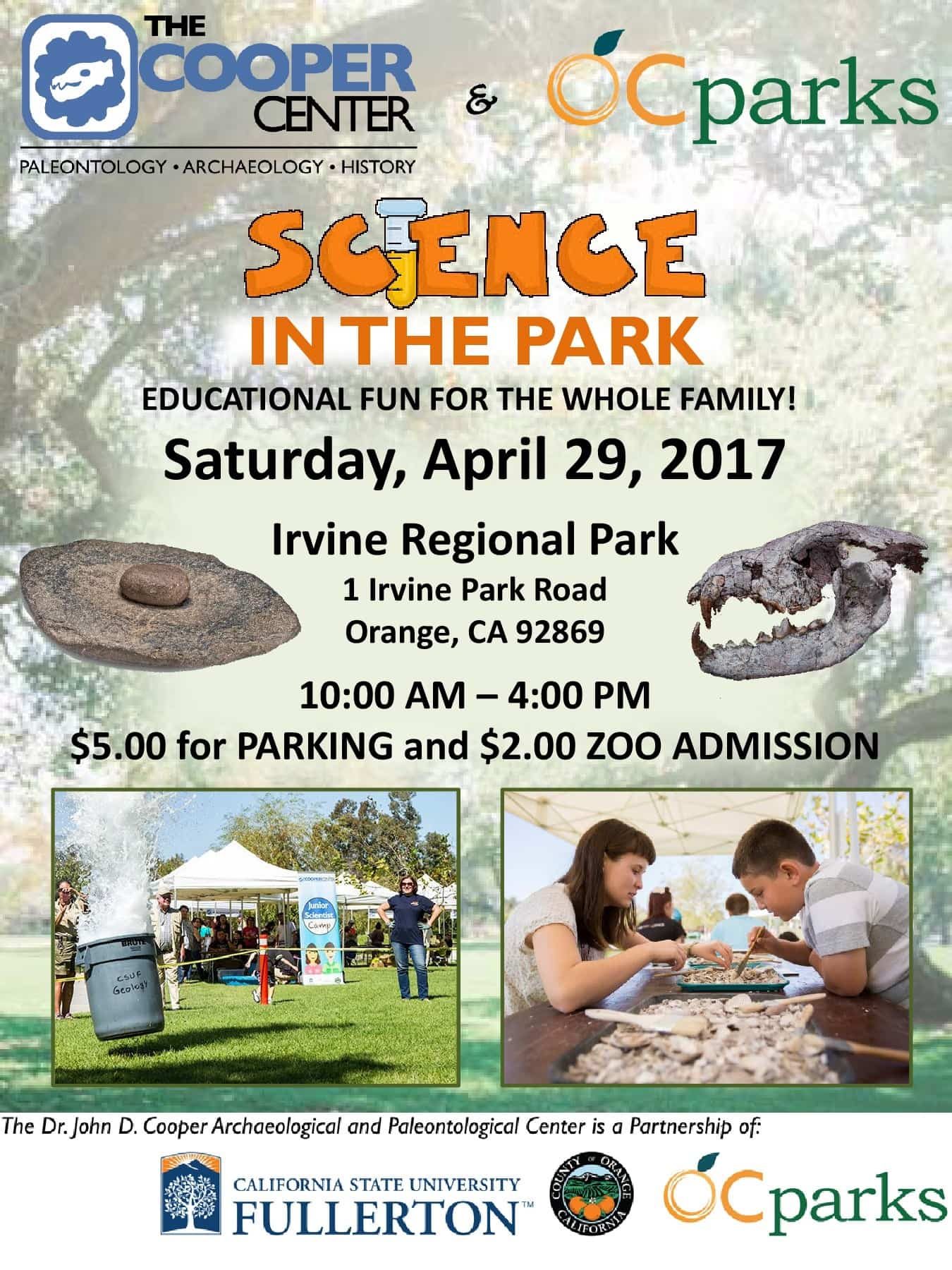 Does your child love science? During Science in the Park at the Irvine Regional Park on April 29, children will not only have the opportunity to learn more about archaeology, but other activities include paleontological demonstrations and exhibits, science experiments, volcano demonstrations and lectures by leading experts in their fields.