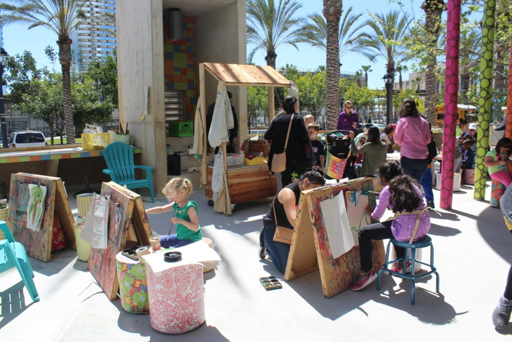 The Outdoor Art Studio at the San Diego Children's Discovery Museum is where children are encouraged to imagination, experimentation, and exploration through art.