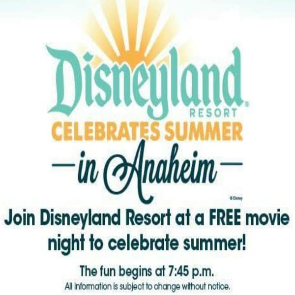 The Disneyland Resort is hosting a series of 6 free Disney movie nights at various local parks throughout Anaheim this summer.