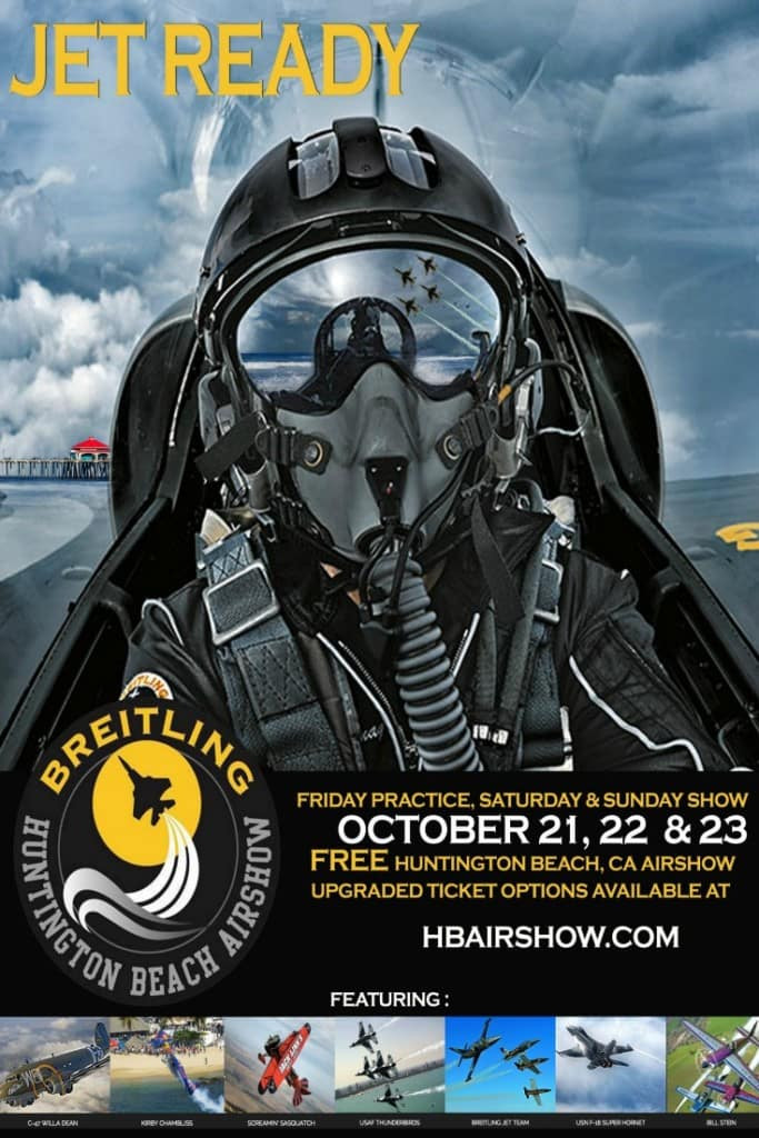 Do you love airplanes? Attend The Breitling Huntington Beach Airshow on October 21 – 23 in Huntington Beach, California. The airshow promises to be an incredible experience both in the sky and on the beach!