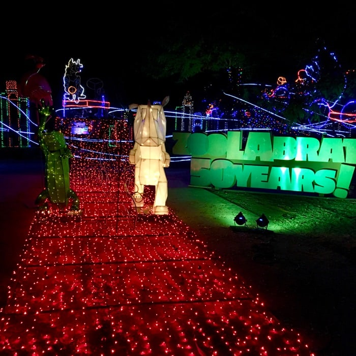 "L.A. ZOO LIGHTS returns for its third spectacular year as it kicks off a ""ZooLAbration"" of the Los Angeles Zoo's 50th Anniversary on Friday, November 18, 2016, and remains open for seven awe-inspiring weeks through Sunday, January 8, 2017. Awarded USA Today's 2015 ""10 Best Zoo Lights"" honor, L.A. Zoo Lights sets the Zoo aglow in wonder and delight with a fanciful menagerie of animal characters brought to ""life,"" LED lights by the thousands, giant illuminated snowflakes, a ""red-carpet"" 50th Anniversary party celebrating the Zoo's Golden Year, a disco ball forest, glittering twinkle tunnels, stunning 3-D animated projections, and much more."