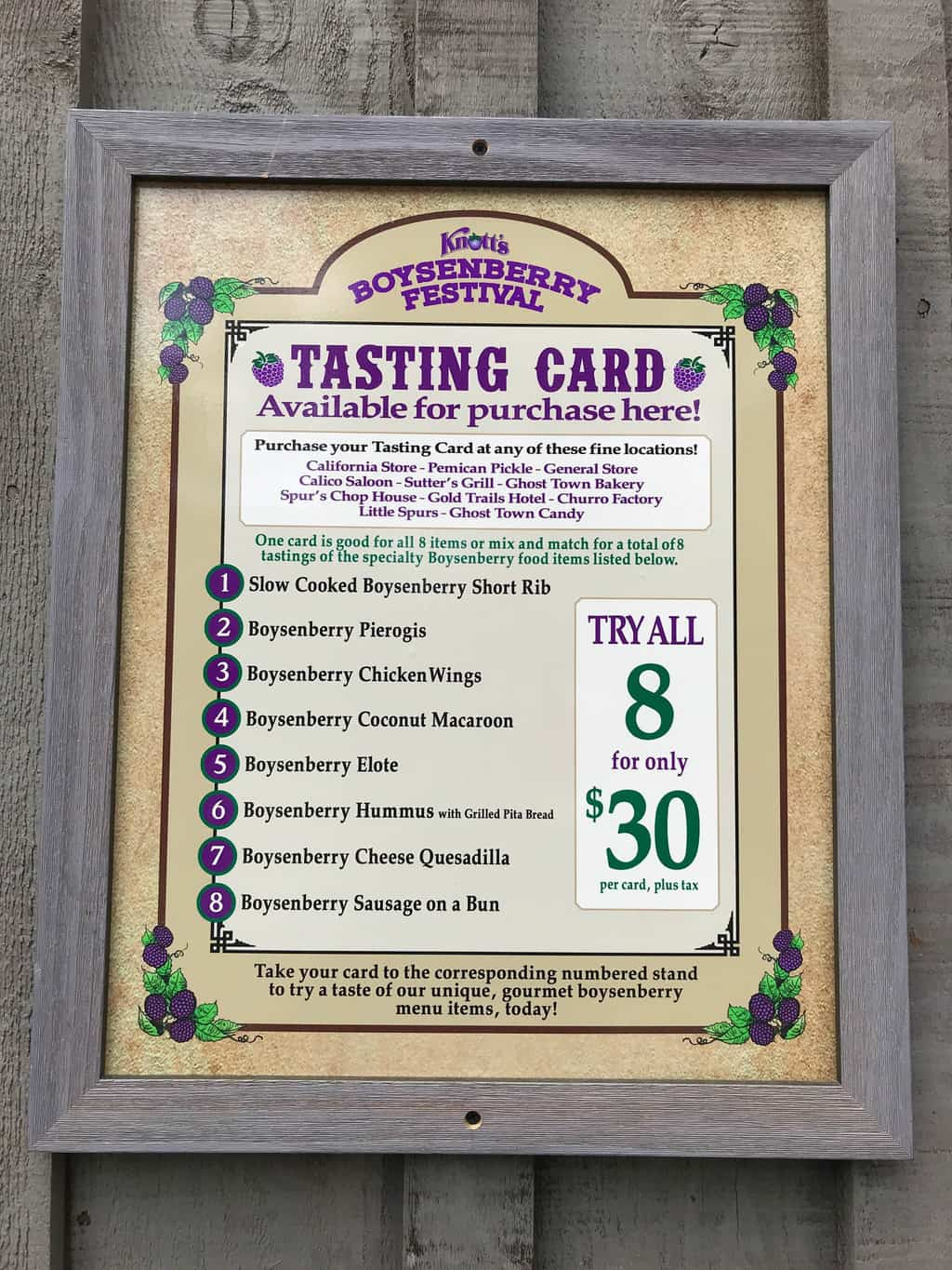 Boysenberry Festival Tasting Card at Knott's Boysenberry Festival