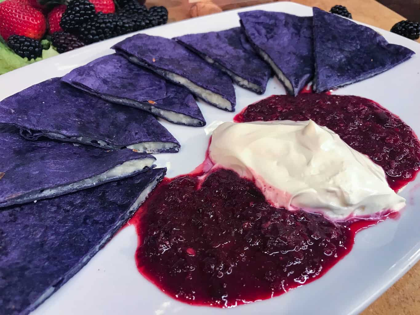 Boysenberry Quesadilla at the Knott's Boysenberry Festival in Buena Park