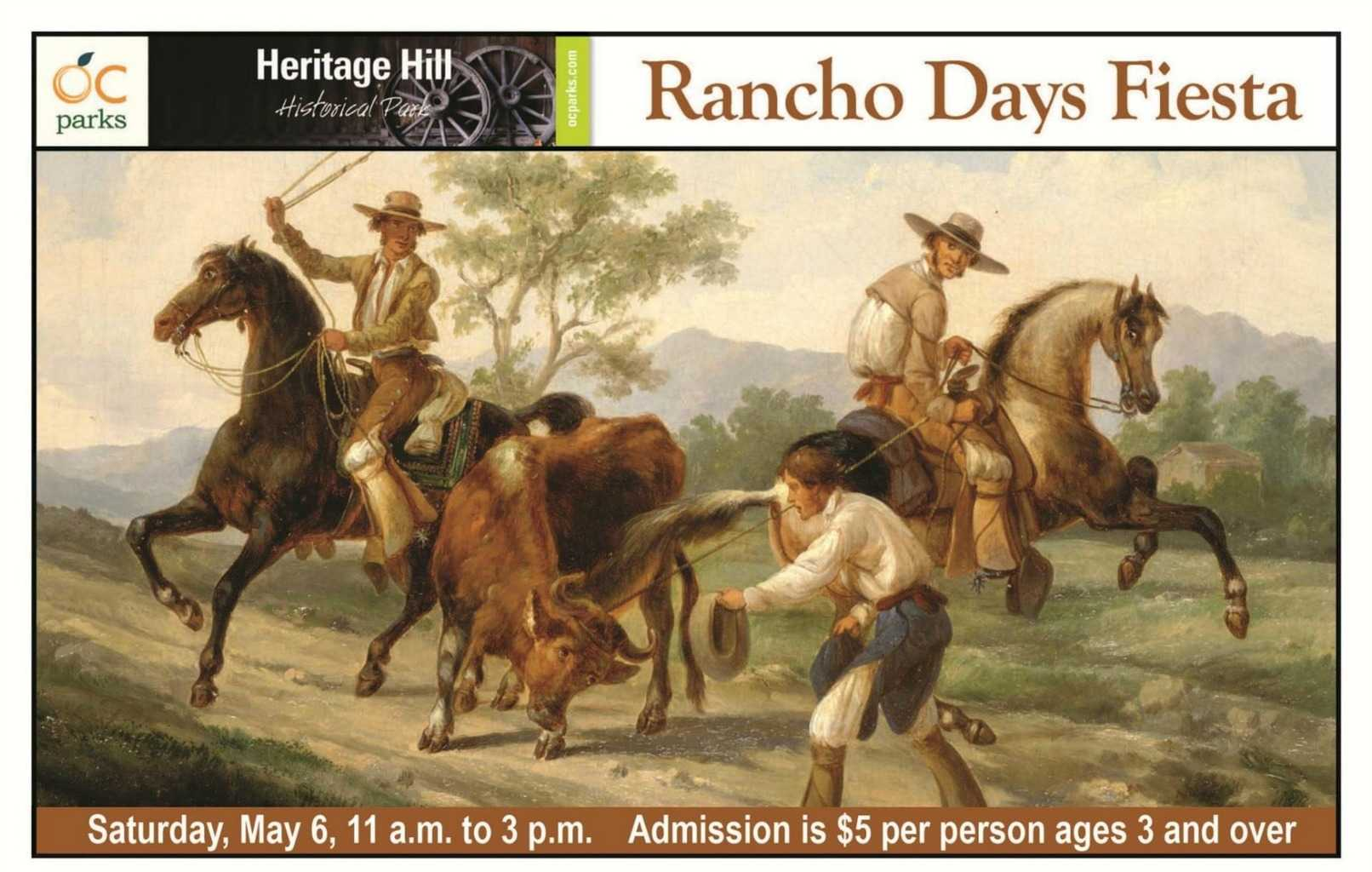 Is your child learning about California history? Then take them to Rancho Days Fiesta at Heritage Hill Historical Park in Lake Forest on May 6! Travel back in time to the days of the rancho era, and enjoy hands-on activities, music, dance, and more. There will also be a wide variety of activities and demonstrations for the family including piñata breaking, butter churning, and candle dipping.