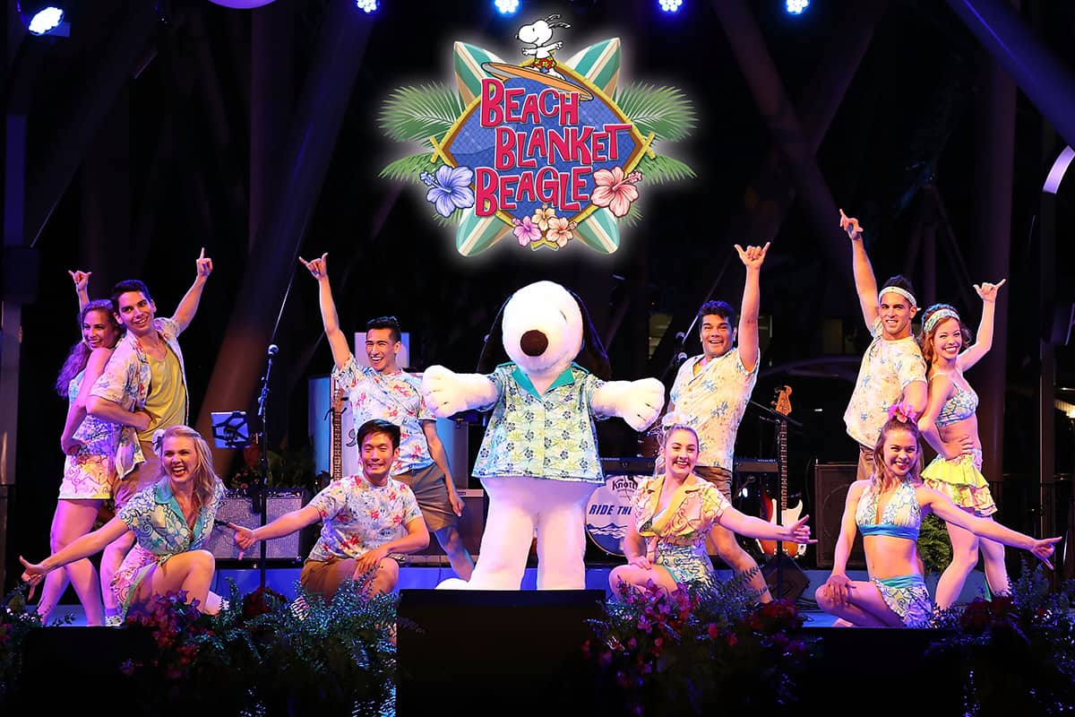 Beach Blanket Beagle at Knott's Berry Farm is a musical dance party set to the classic beach comber tunes of the 60's and 70's, and stars the coolest beagle around, Snoopy!