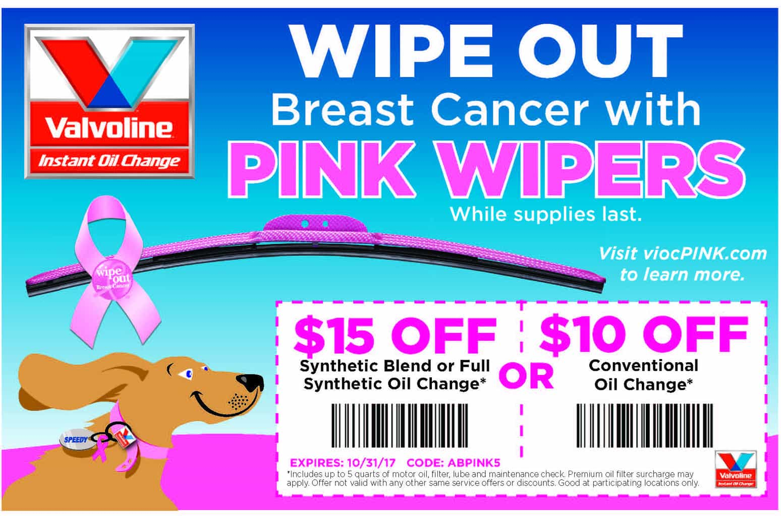 Support Breast Cancer Awareness Monthy by purchasing limited edition AutoTex PINK Wipers from select Valvoline Instant Oil Change locations now through October 31.