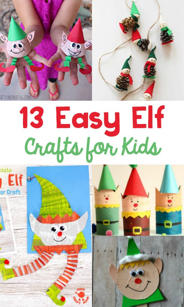 What is your favorite holiday movie?  My favorite movie this time of year is Elf!  If your child likes the movie just as much as I do, or better yet, the newest tradition of Elf on the Shelf, they're going to love these 13 Easy Elf Crafts For Kids..