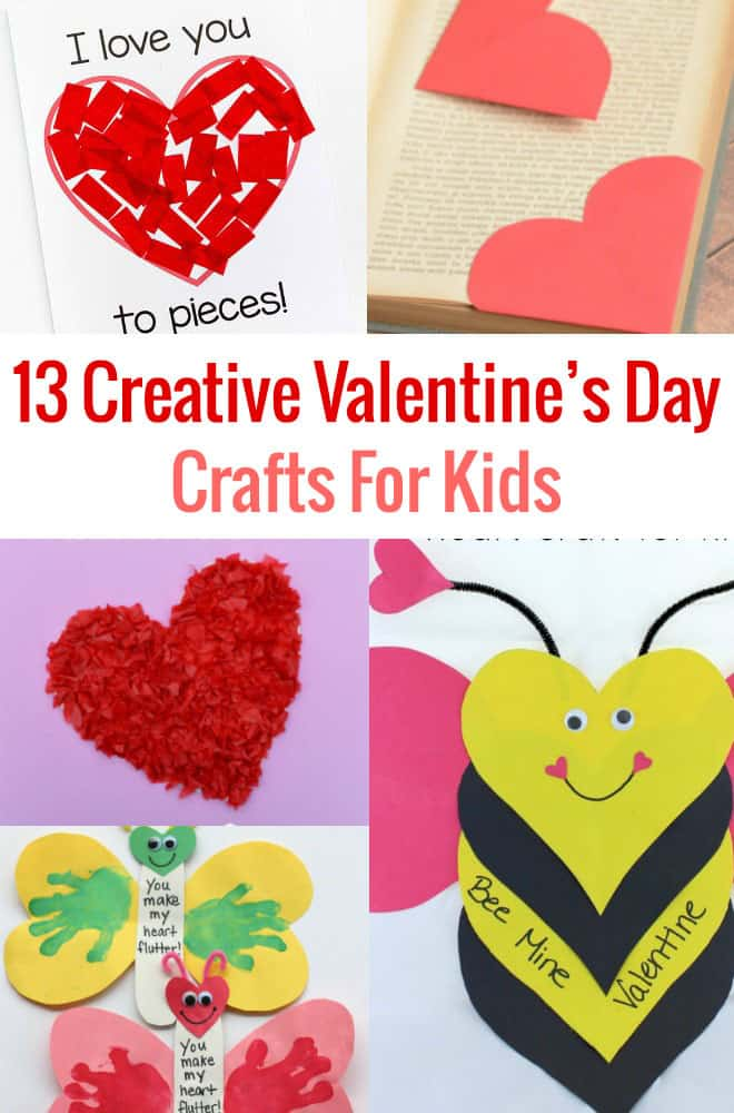 Are you looking for some fun activities to keep the kids entertained on Valentine's Day?  These 13 Creative Valentine's Day Crafts for Kids are surprisingly a little silly, but sure to delight your little sweeties.  What's not to love?