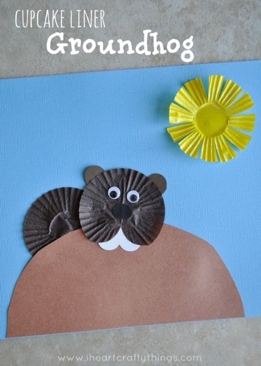 Cupcake Liner Groundhog Day Craft for Kids