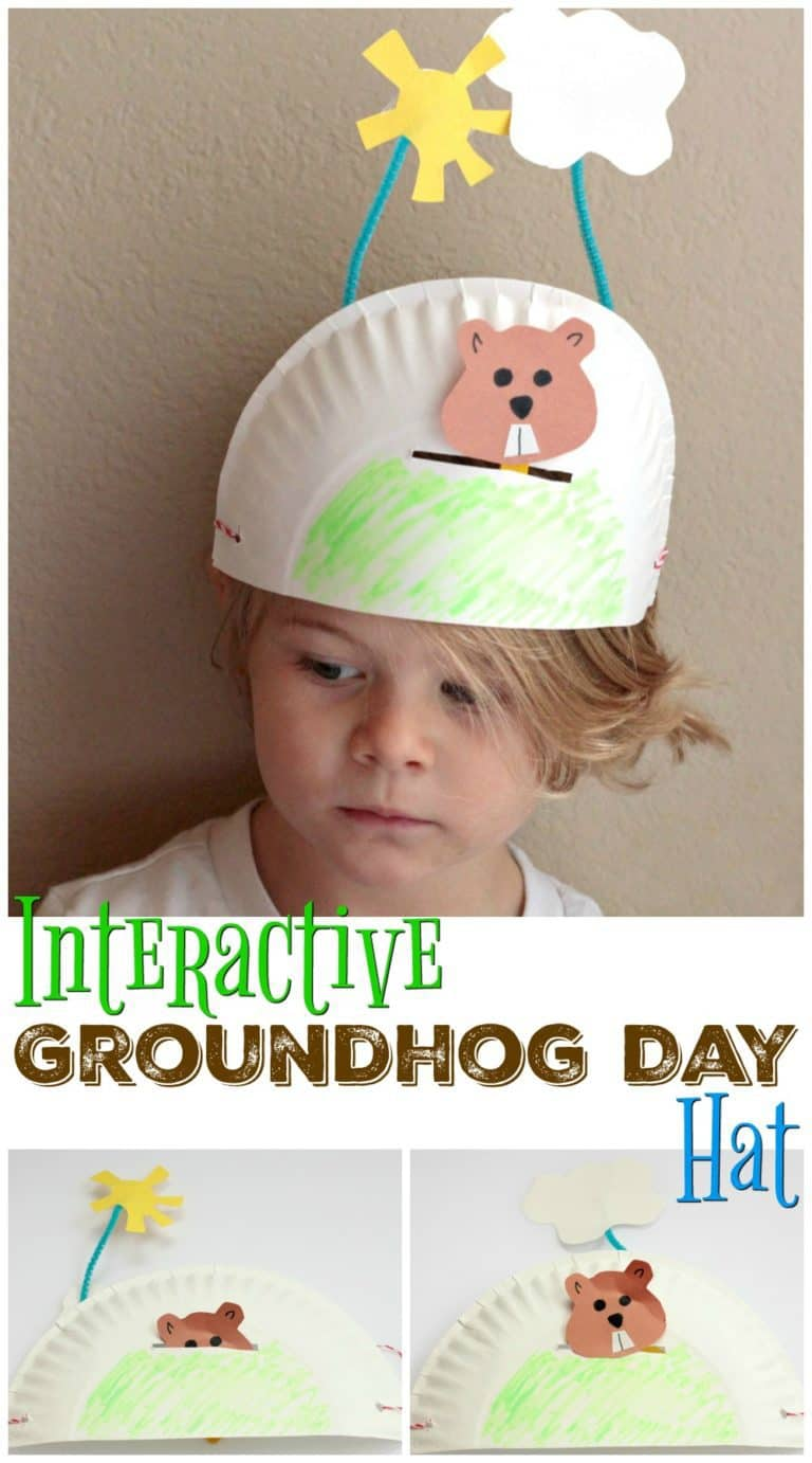 Child wearing a homemade Groundhog Day hat