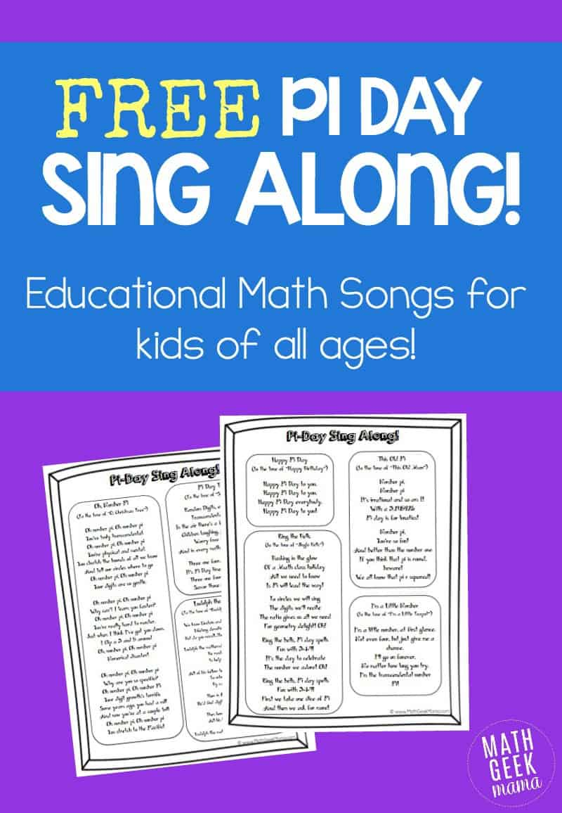 Pi Day singalong printable