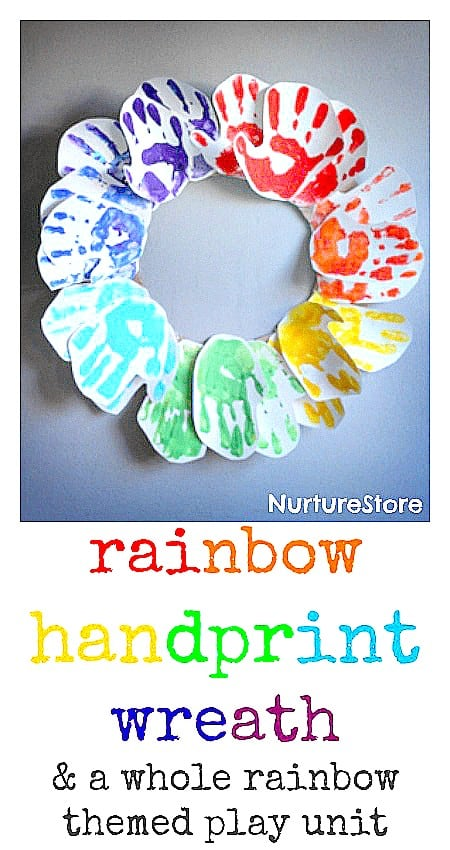 rainbow handprint wreath art