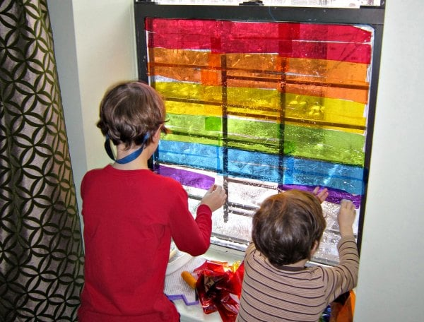 Rainbow window art activity