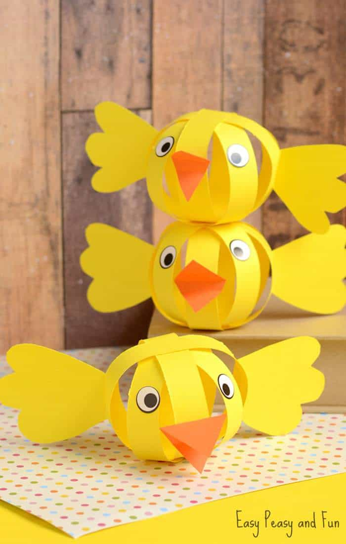 yellow 3D paper chick craft