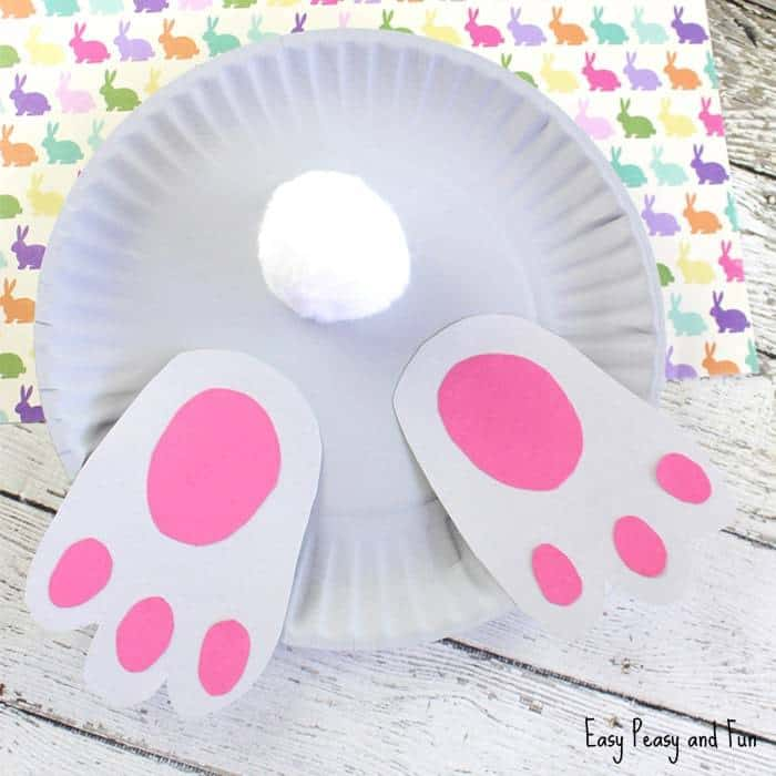 how to make a white bunny butt paper plate craft with pink feet