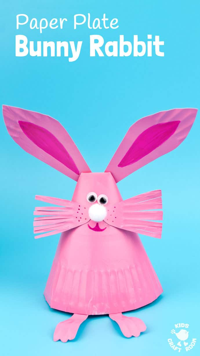 Pink paper plate bunny craft with ears and whiskers