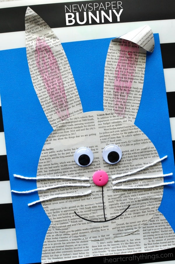 newspaper bunny craft for kids