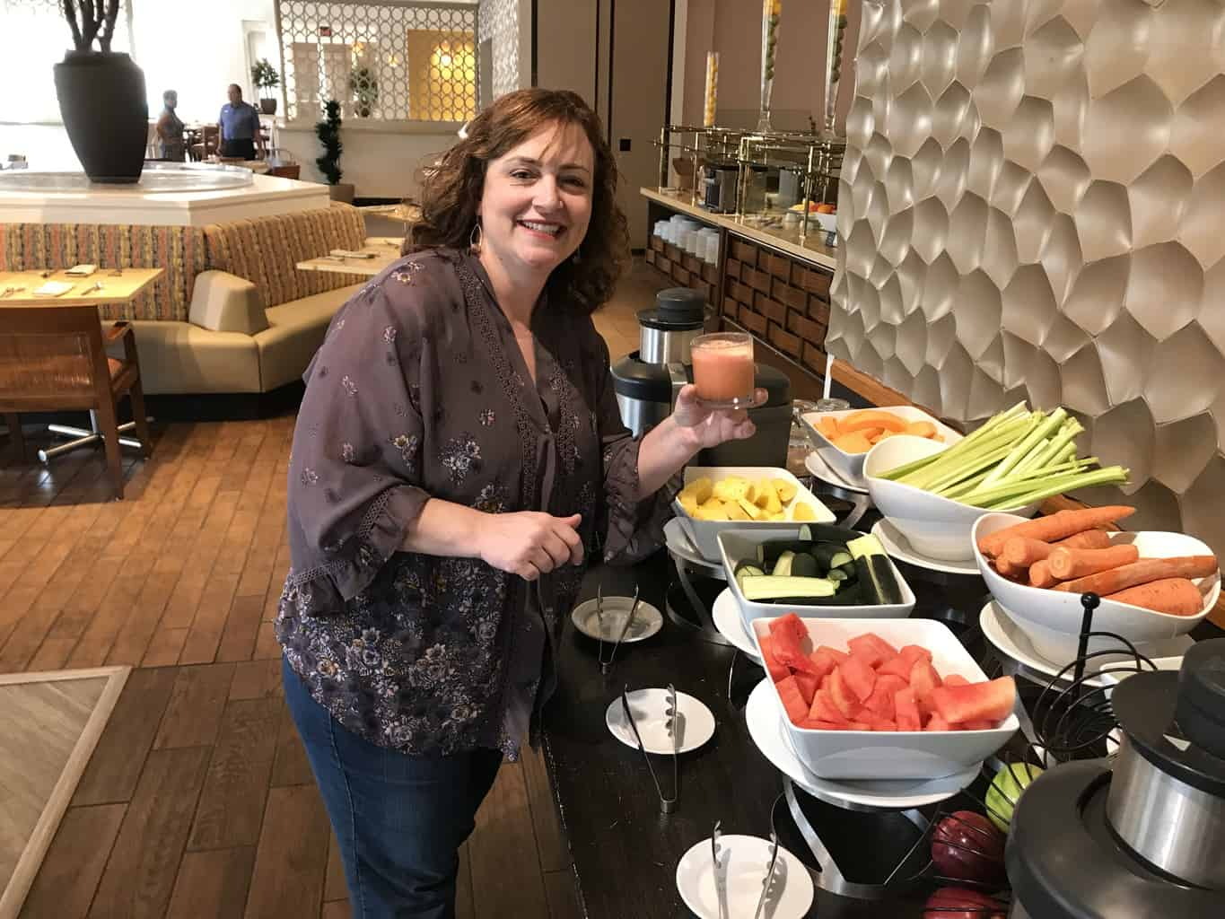 Trying out the juicing machine at the Renaissance Indian Wells Resort & Spa in Palm Springs.