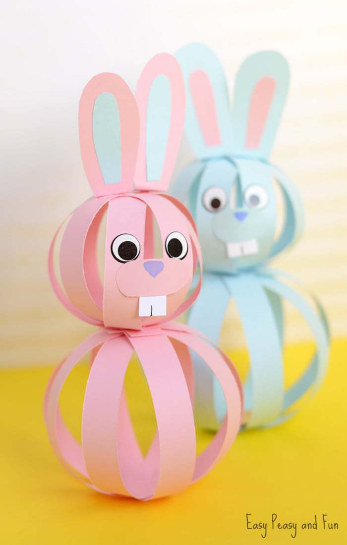 3D pink and blue easter bunny craft