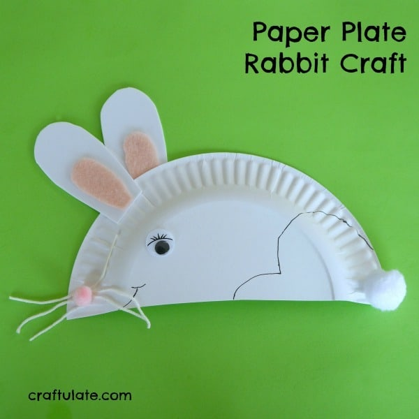 easy white paper plate rabbit craft