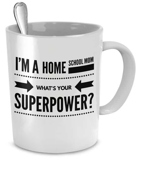 Cute homeschool mom coffee cup on easy