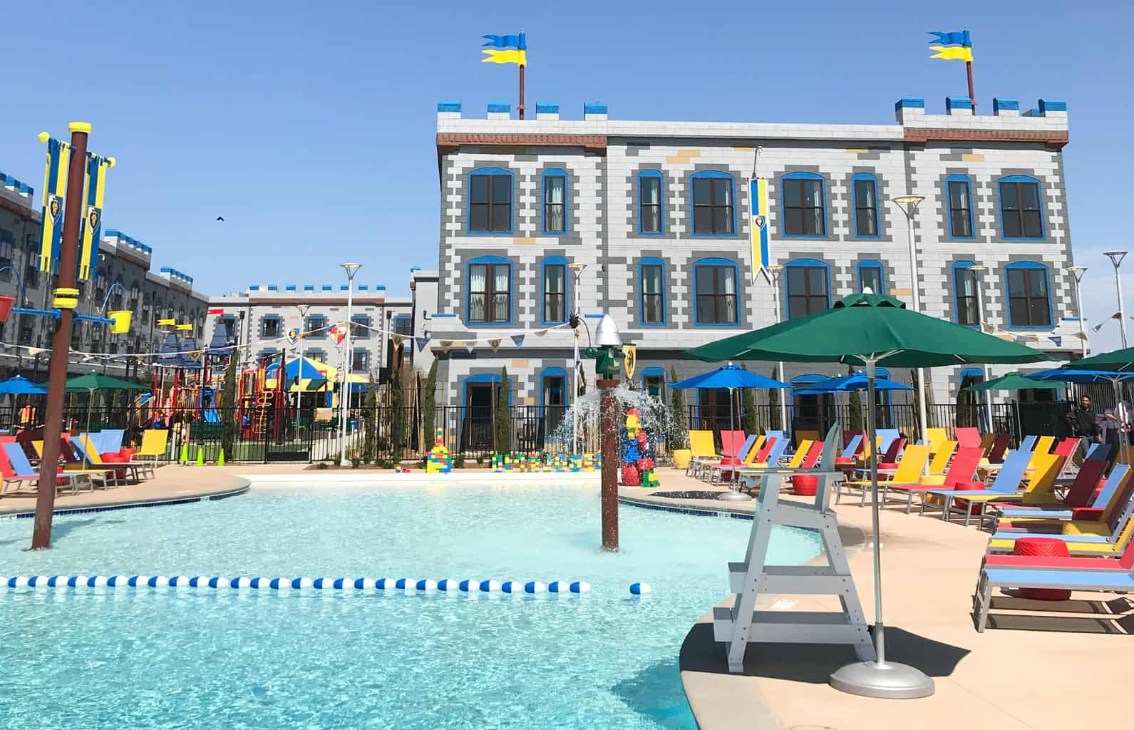The pool at LEGOLAND Castle Hotel in California