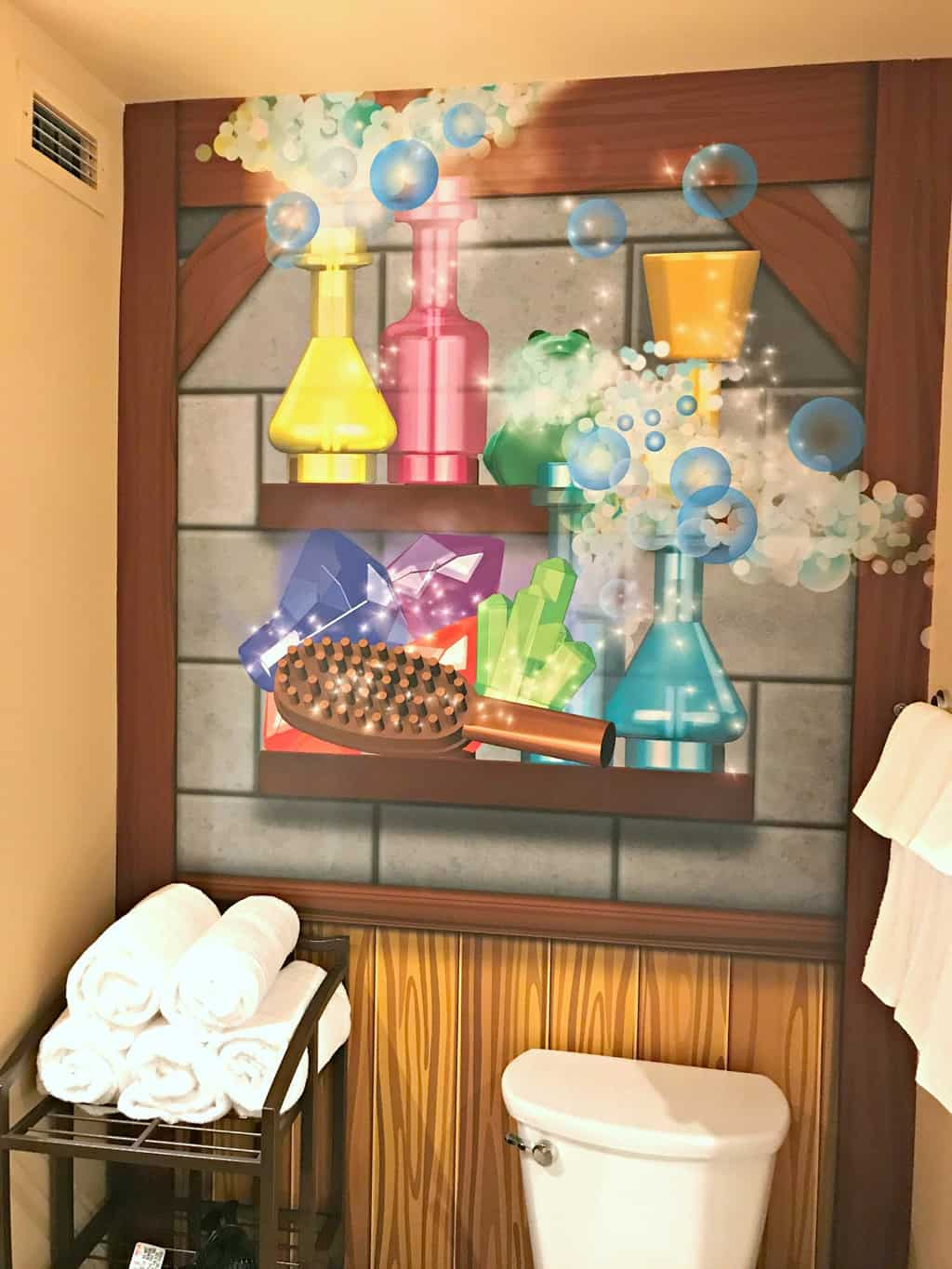 The bathroom in the Magic Wizard Room at the LEGOLAND Castle Hotel