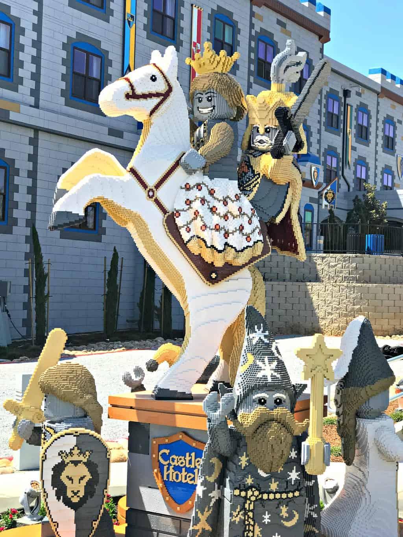 Lego horse statue at LEGOLAND Castle Hotel Carlsbad