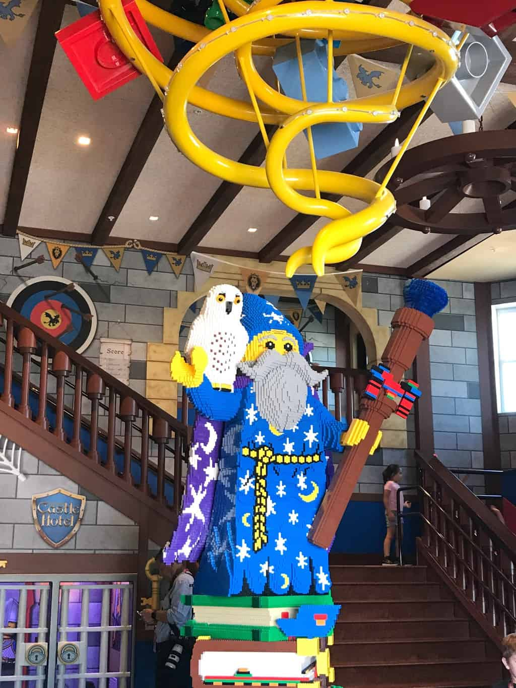 Merlin wizard statue at LEGOLAND Castle Hotel in Carlsbad California