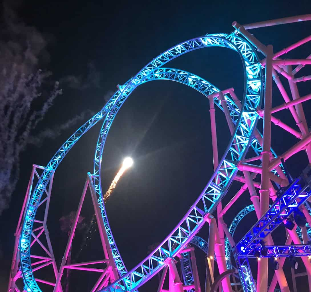 Experience HangTime at Knott's Berry Farm, the first and only dive coaster in California.  The brand new coaster towers 150 feet above ground, showcasing gravity defying inversions, mid-air suspensions and a beyond vertical drop - the steepest in California.