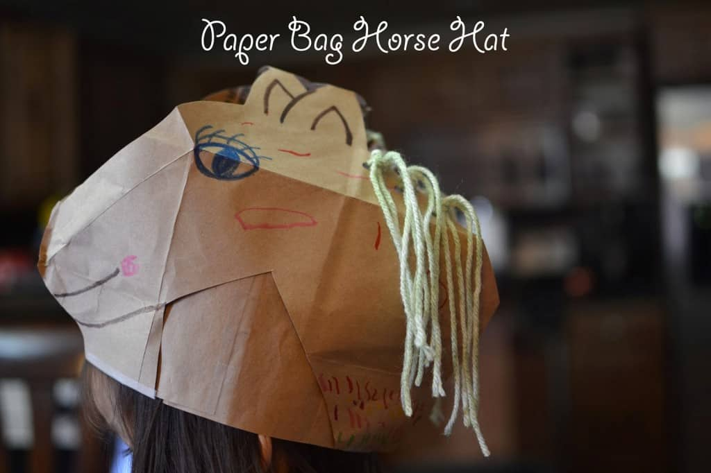Easy horse paper bag hat craft for kids