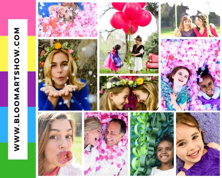 Children and parents playing in the flowers at BLOOM LA.