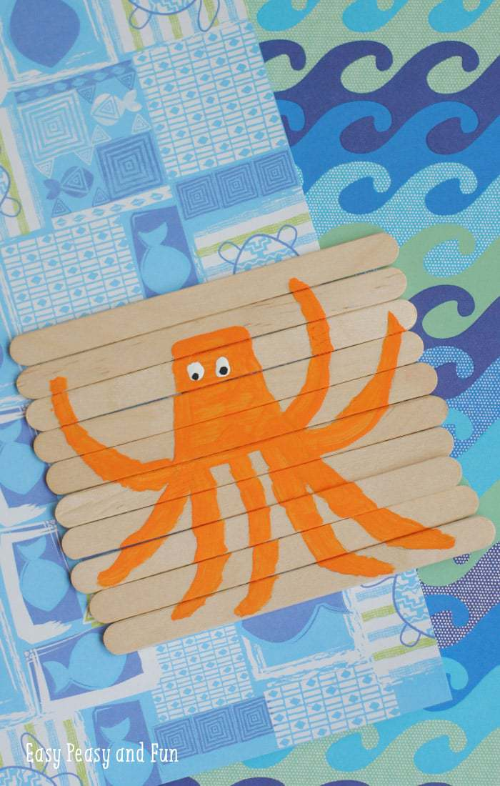 orange octopus popsicle stick craft for kids