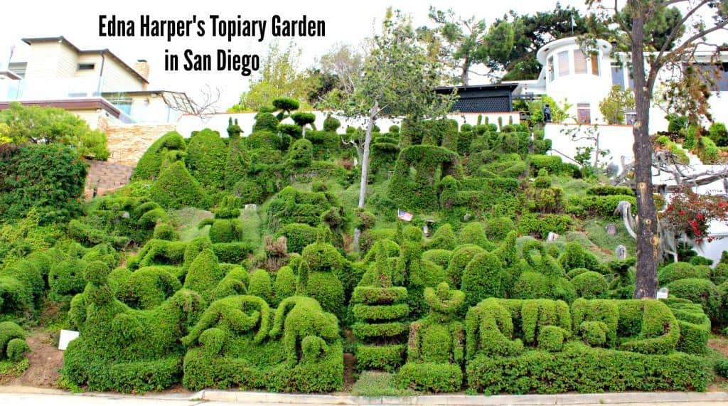 Edna Harper's Topiary Garden in San Diego is made of 50 or so whimsical characters including elephants, whales, a rooster, a bunny, and Mickey Mouse. It is free to visit. However, just be sure to stay on the pathway and enjoy the view from afar.