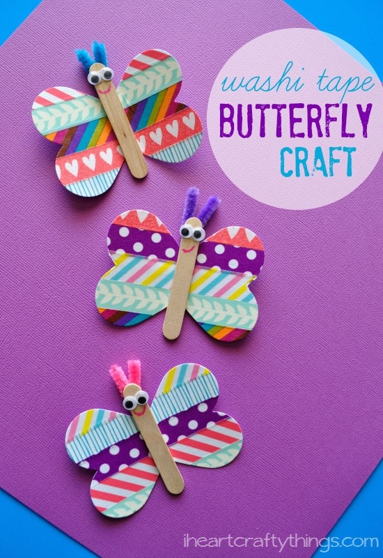 multicolored butterfly craft made out of popsicle sticks and wasabi tape