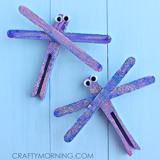 purple dragonfly popsicle craft for kids
